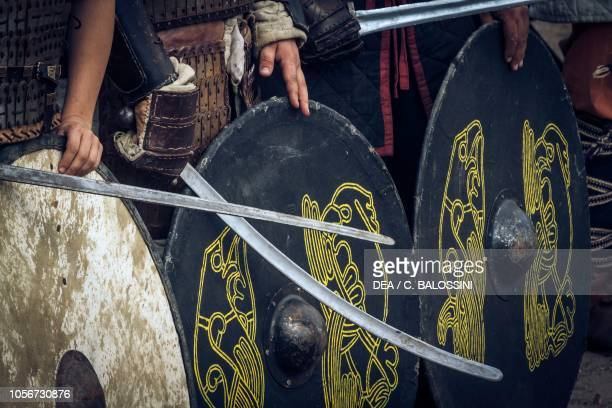 Warriors with shields and swords, Festival of Slavs and Vikings, Centre of Slavs and Vikings, Jomsborg-Vineta, Wolin island, Poland. Slavic and...