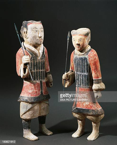 Warriors with spears polychrome terracotta statues from the Shanxi Region China Chinese Civilisation Western Han Dynasty 3rd century BC 1st century AD