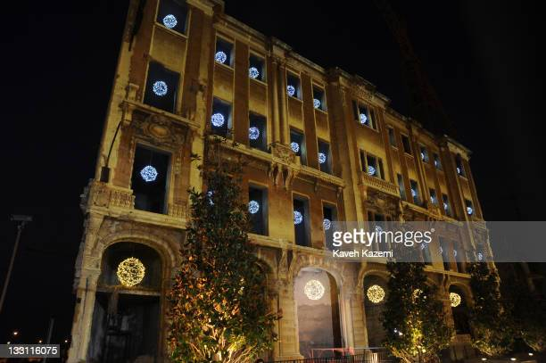 War-ruined building decorated with lights remains erected in the modern downtown quarter of Beirut, Lebanon, 8th August 2011.