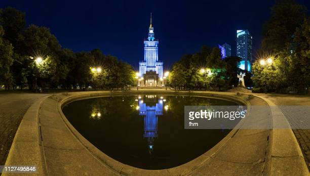 Warsaw at night with Palace of Culture and Science (Warsaw, Poland)
