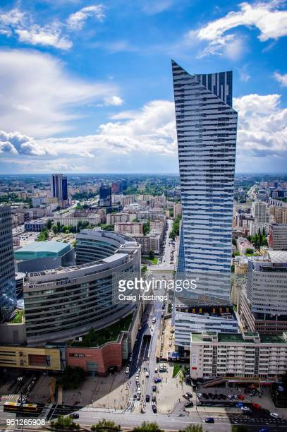 warsaw city view and cityscape skyline - avenue stock pictures, royalty-free photos & images