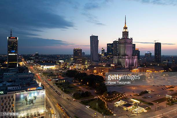 warsaw downtown skyline in 2013 - warsaw stock pictures, royalty-free photos & images