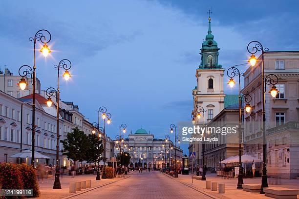warsaw krakowskie przedmiescie street - warsaw stock pictures, royalty-free photos & images