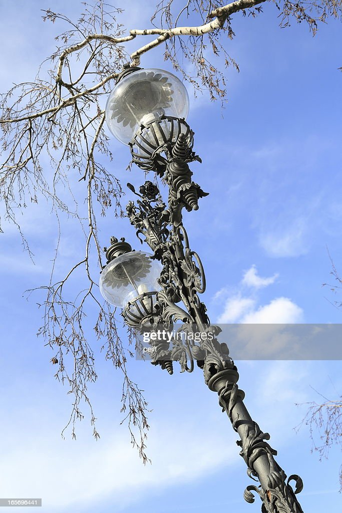 Warsaw - old cast iron street lamp : Stock Photo