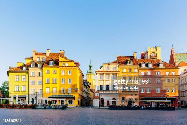 warsaw old town on a sunny morning with clear blue sky, poland - poland stock pictures, royalty-free photos & images
