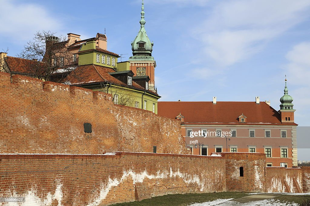 Warsaw old town wall and castle : Stock Photo