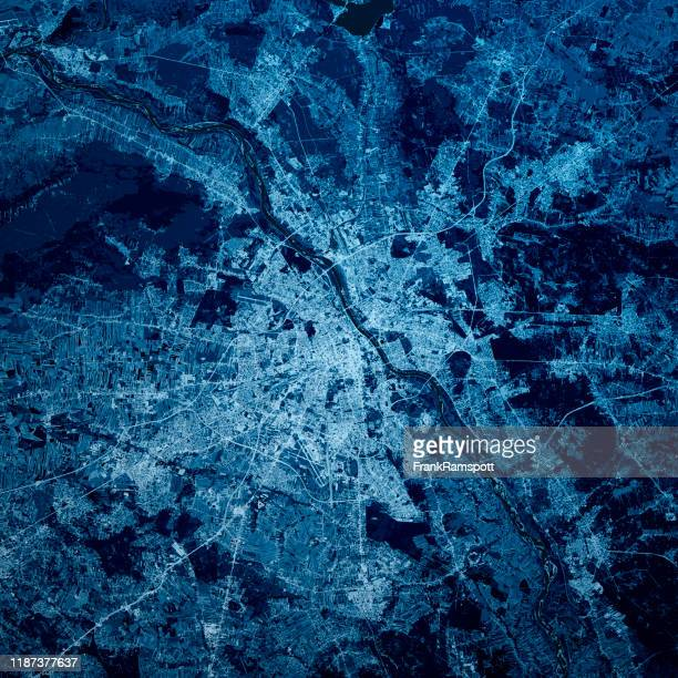 warsaw poland 3d render map blue top view sep 2019 - frank ramspott stock pictures, royalty-free photos & images