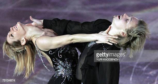 Bulgarian Albena Denkova and Maxim Stavitski perform during an exhibition at the European Figure Skating Championships in Warsaw 28 January 2007 AFP...
