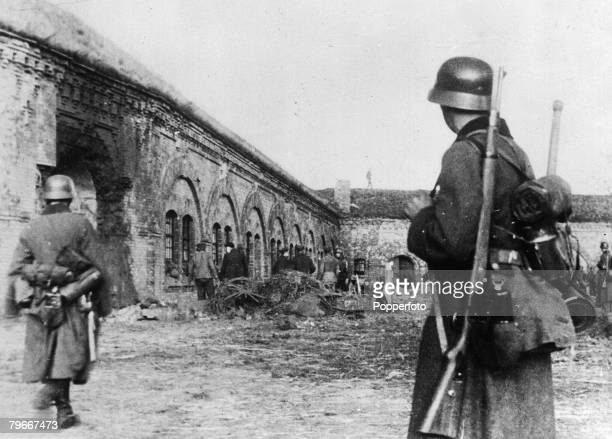 Warsaw Poland German Nazi soldiers taking possession of the south forts of Warsaw after the city had been forced to capitualte in face of the...