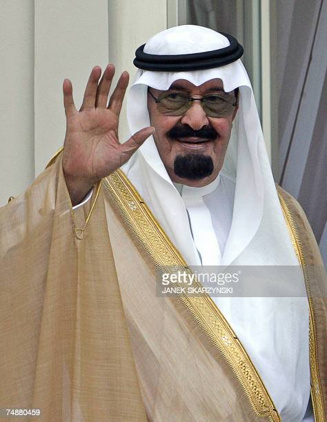 King of Saudi Arabia Abdullah bin Abdulaziz AlSaud waves to journalists at the presidential palace in Warsaw 25 June 2007 Saudi Arabia's King...