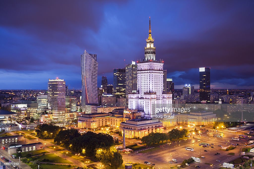 Warsaw skyline at dusk : Stock Photo