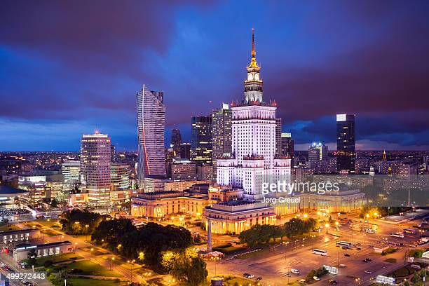 Warsaw skyline at dusk