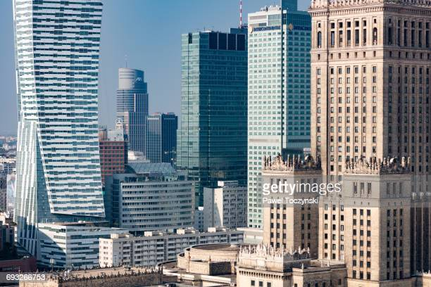 warsaw's core skyscrapers - the modern and the old - warsaw stock pictures, royalty-free photos & images
