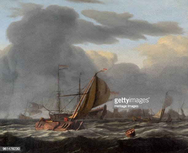 Warship at Anchor in a Rough Sea', circirca 1660-circirca 1708. Painting in Apsley House, London, bought by the 2nd Duke of Wellington from...