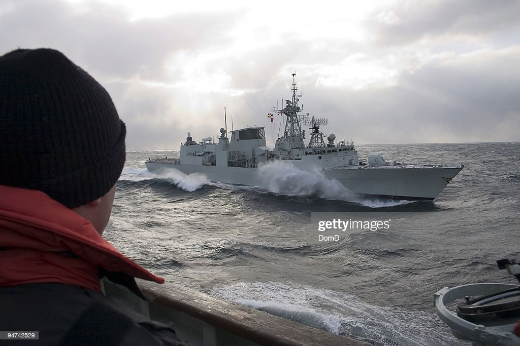 Warship in the middle of the sea : Stock Photo