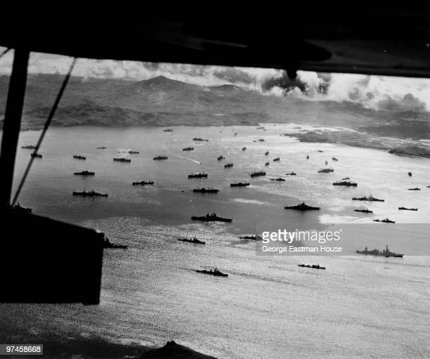 US warships are anchored at Adak harbor in the Aleutian islands while preparing to attack the Japanese base in Kiska August 1943