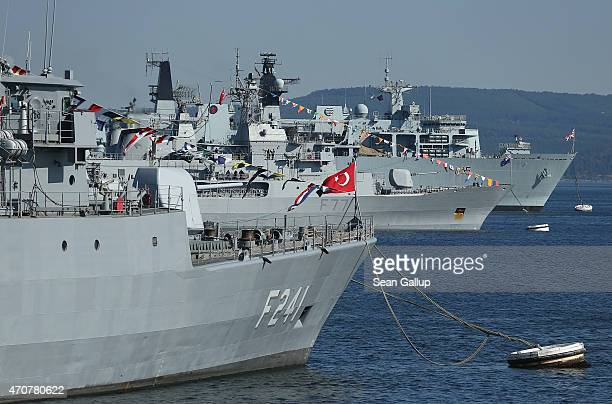 Warships from Turkey Great Britain as well as the New Zealand HMNZS Te Kaha lie anchored in the Dardanelles strait near the site of the Gallipoli...
