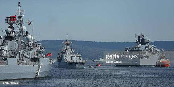 Warships from Turkey Great Britain as well as the New Zealand HMNZS Te Kaha and the Australian HMAS Anzac lie anchored in the Dardanelles strait near...