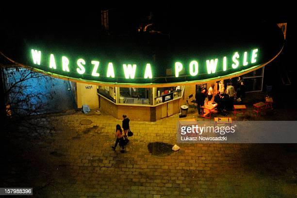 Warszawa Powisle Bar in Warsaw during the night, Poland 2011.