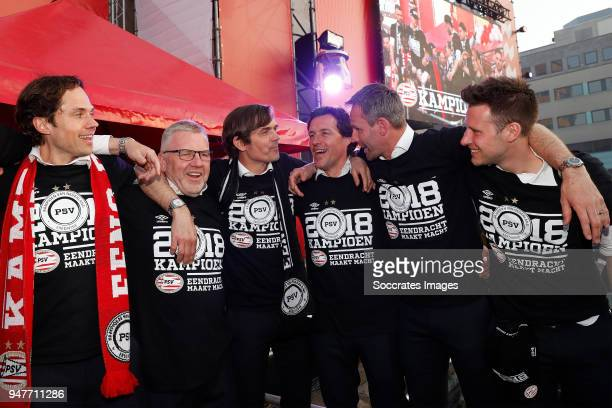 Wart van Zoest of PSV Eddy Pepels of PSV coach Phillip Cocu of PSV assistant trainer Chris van der Weerden of PSV Andre Ooijer of PSV celebrates the...