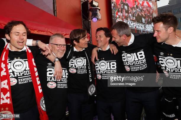 Wart van Zoest of PSV Eddy Pepels of PSV coach Phillip Cocu of PSV assistant trainer Chris van der Weerden of PSV Andre Ooijer of PSV celebrates the...