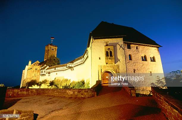 Wartburg in Thuringia in Germany at night