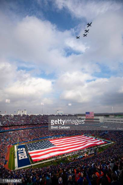 Warthog military aircraft flyover during the national anthem before the game between the Buffalo Bills and the Denver Broncos at New Era Field on...
