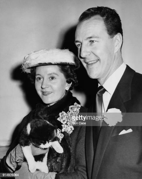 Wartime Allied intelligence officer Odette Churchill leaves Caxton Hall in London with her husband SOE officer Geoffrey Hallowes after their wedding...