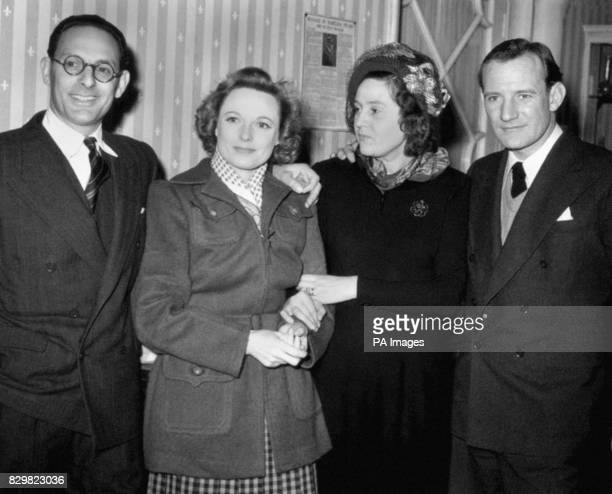 Wartime heroine Odette Churchill 2nd right and her husband Captain Peter Churchill with actors Anna Neagle and Trevor Howard at the Gate Studios...