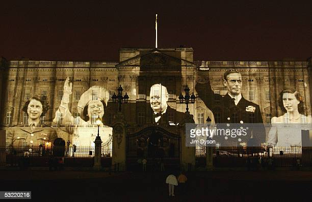 Wartime scenes are projected on to the front of Buckingham Palace during the final night of displays to commemorate the end of World War II on July 9...