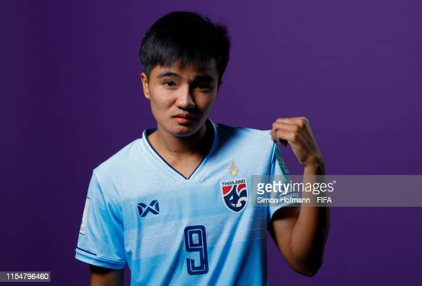 Warunee Phetwiset of Thailand poses for a portrait during the official FIFA Women's World Cup 2019 portrait session at Grand Hotel Continental on...