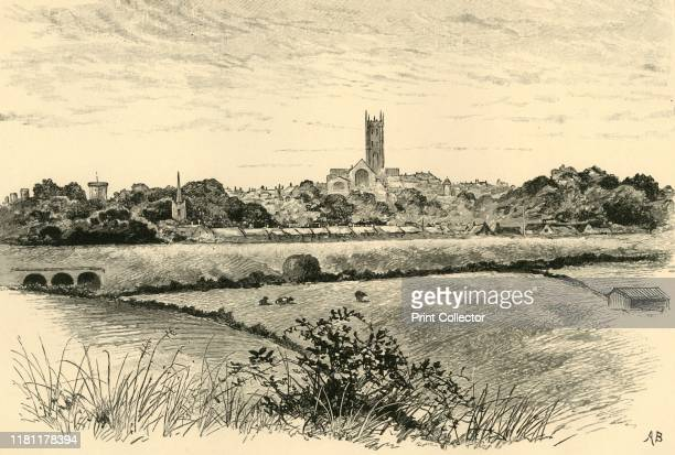 Warwick' 1898 Tower of the Church of St Mary in Warwick near the River Avon most buildings were rebuilt after the Great Fire of Warwick 1694 From Our...