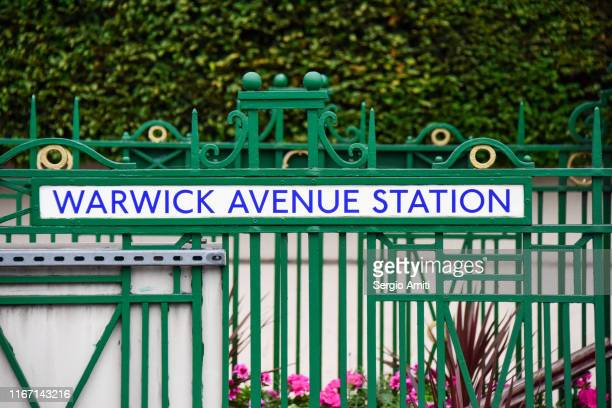 warwick avenue station sign - underground sign stock pictures, royalty-free photos & images