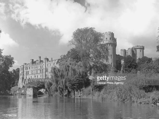Warwick Castle seen from the River Avon Warwickshire 29th September 1954