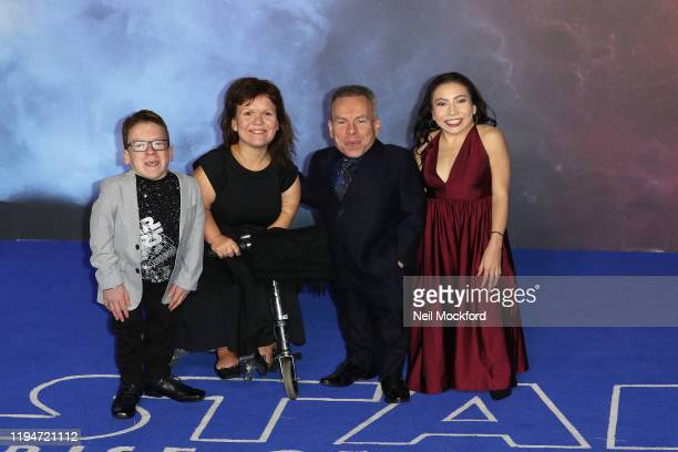 Warwick Davis and family attend Star Wars The Rise of Skywalker European Premiere at Cineworld Leicester Square on December 18 2019 in London England
