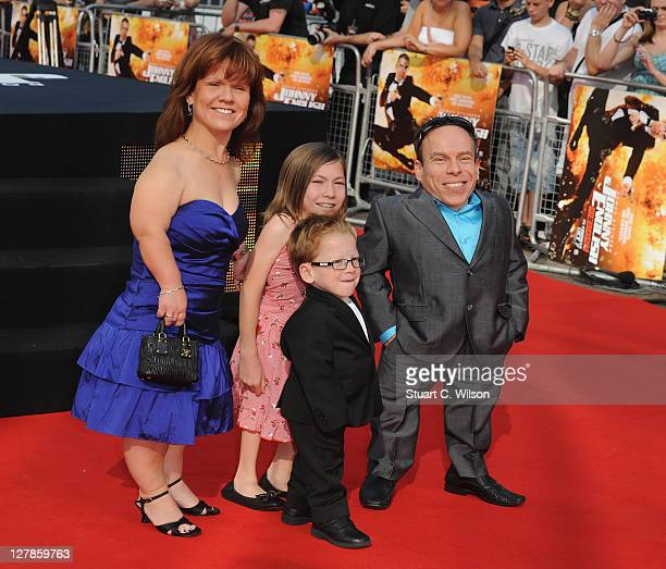 Warwick Davis and family attend the UK premiere of Johnny English Reborn at Empire Leicester Square on October 2, 2011 in London, England.