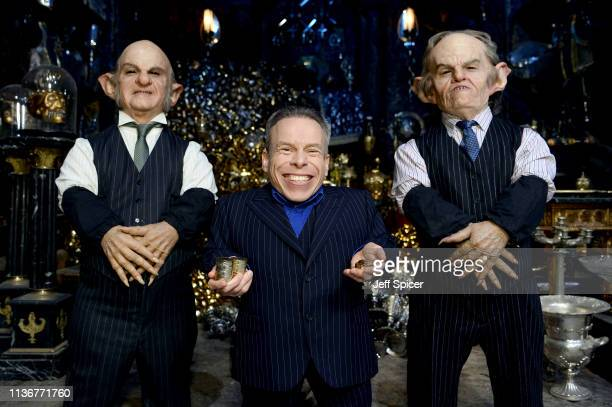 Warwick Davis and Goblins in the Lestrange Vault set at the original Gringotts Wizarding Bank at Warner Bros Studio Tour London on March 19 2019 in...