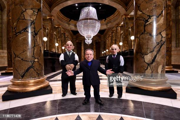 Warwick Davis and Goblins in the original Gringotts Wizarding Bank set at Warner Bros Studio Tour London on March 19 2019 in Watford England Warner...