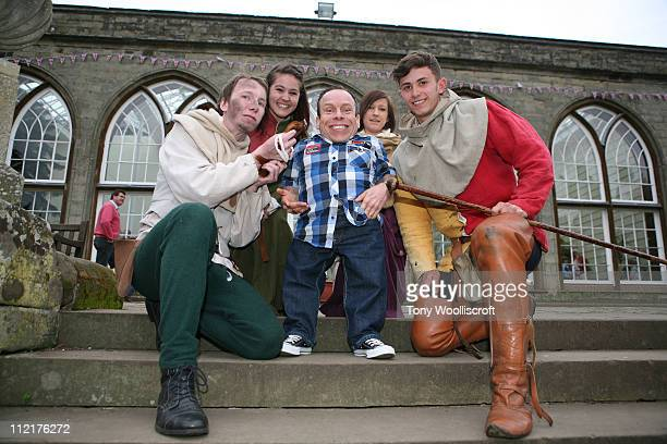 Warwick Davis and Warwick Castle entertainers attend the launch of a new attraction based on the hit BBC One drama series at Warwick Castle on April...