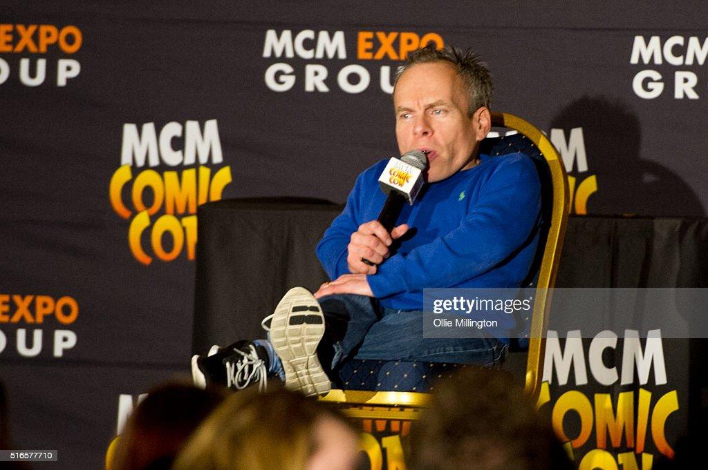 Warwick Davis atends Comic Con 2016 talking to fans on March 19, 2016 in Birmingham, United Kingdom.