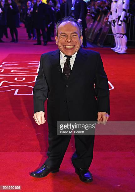 Warwick Davis attends the European Premiere of Star Wars The Force Awakens in Leicester Square on December 16 2015 in London England