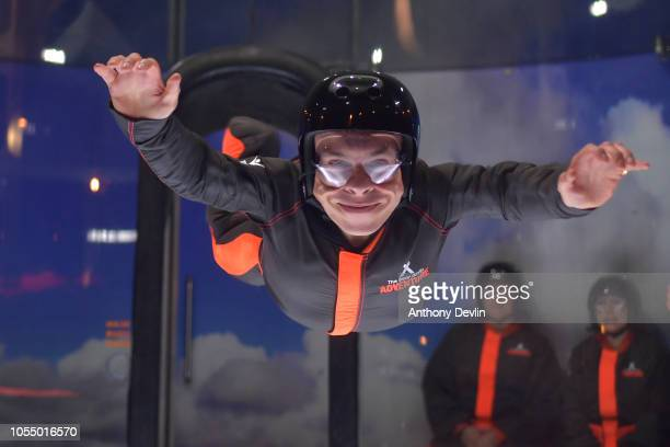 Warwick Davis experiences the iFly attraction during the launch of the 'Global First Adventure Attraction' at Genting Arena on October 29 2018 in...