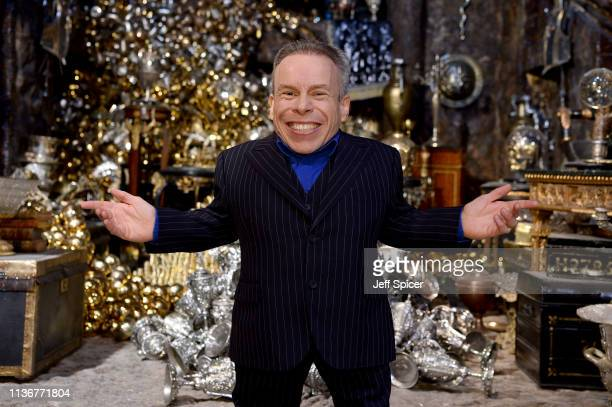 Warwick Davis in the Lestrange Vault set at the original Gringotts Wizarding Bank at Warner Bros Studio Tour London on March 19 2019 in Watford...