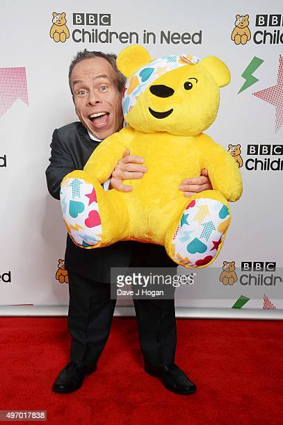 Warwick Davis shows his support for BBC Children in Need at Elstree Studios on November 13 2015 in Borehamwood England