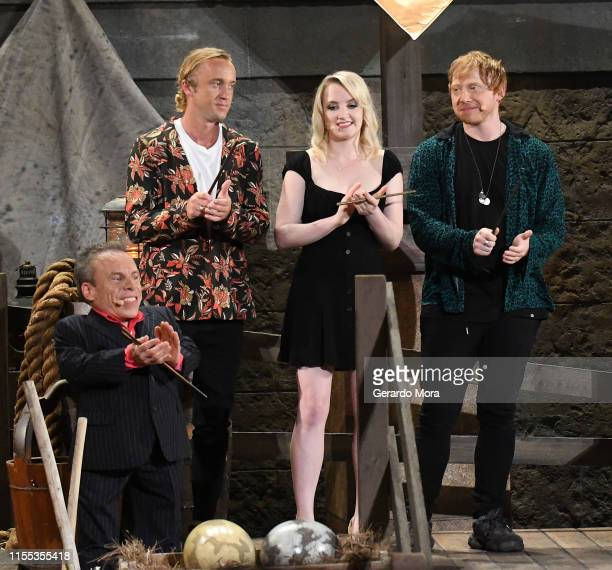 Warwick Davis Tom Felton Evanna Lynch and Rupert Grint attend the Hagrid's Magical Creatures Motorbike Adventure Preview at The Wizarding World of...