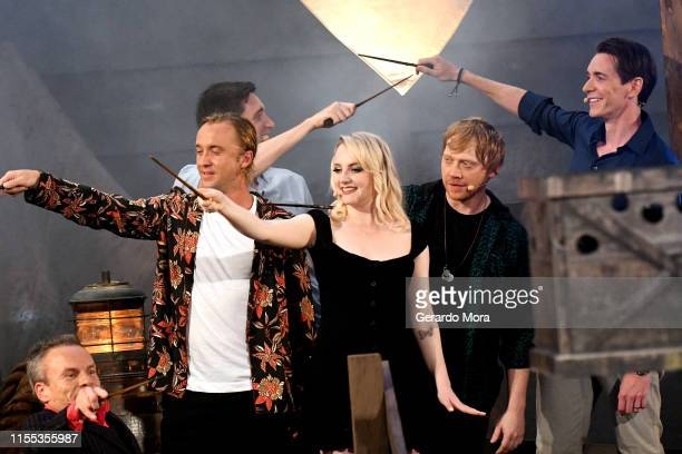 Warwick Davis Tom Felton James Phelps Evanna Lynch Rupert Grint and Oliver Phelps attend the Hagrid's Magical Creatures Motorbike Adventure Preview...