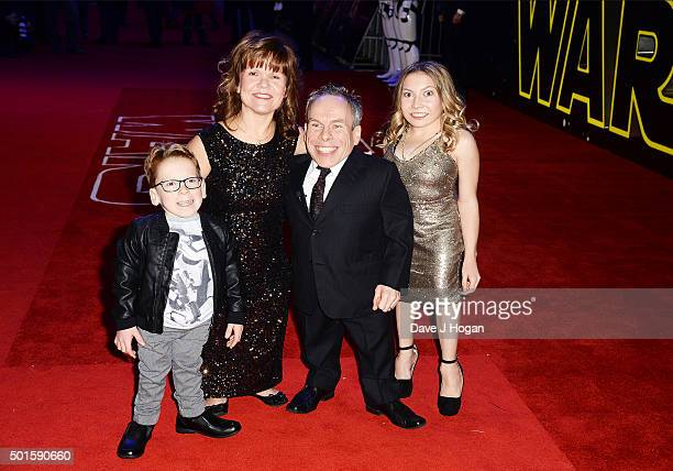 Warwick Davis wife Samantha daughter Annabelle and son Harrison attend the European Premiere of Star Wars The Force Awakens at Leicester Square on...