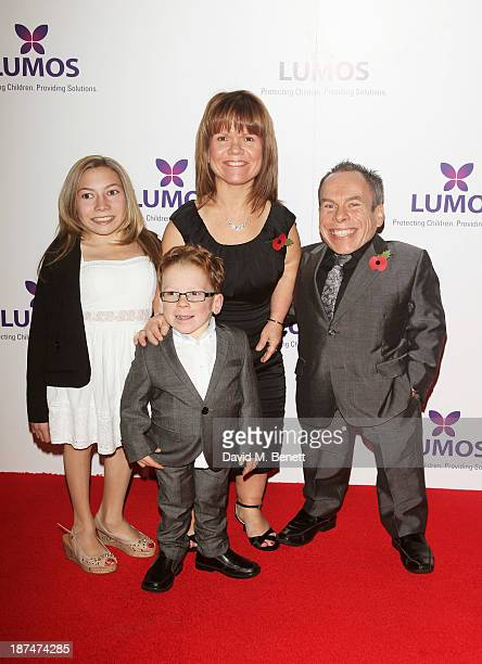 Warwick Davis with children Annabel and Harrison and wife Samantha attend the Lumos fundraising event hosted by JK Rowling at The Warner Bros Harry...
