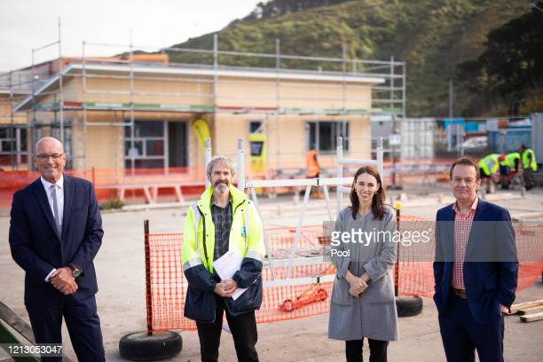 Warwick Quinn Neil McDonald Prime Minister Jacinda Ardern and Mark Oldershaw CE of Weltec and Whitireia pose during a visit to Weltec School of...