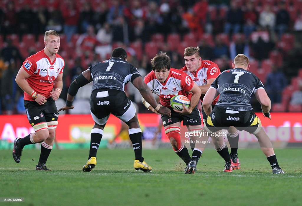 Warwick Tecklenburg and Malcolm Marx of Lions in action with Tendai Mtawarira and Jean-Luc du Preezof Sharks during the Super Rugby match between Emirates Lions and Cell C Sharks at Emirates Airline Park on July 02, 2016 in Johannesburg, South Africa.
